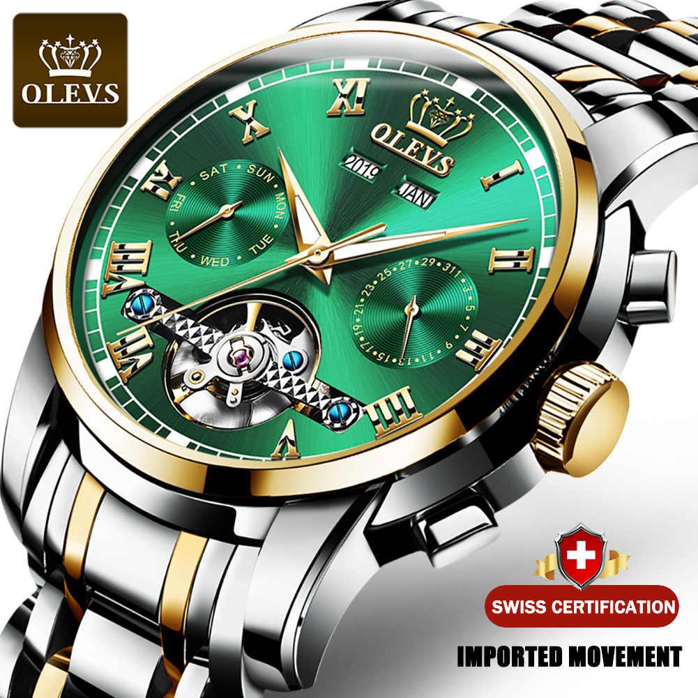 OLEVS 자동 기계 남자 시계 스테인레스 스틸 방수 날짜 주 녹색 Fashio 클래식 손목 시계 Reloj Hombre