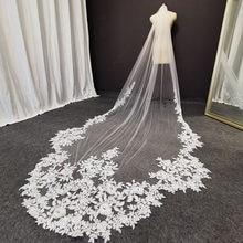 Fotos reais longo laço véu de casamento tule macio branco marfim catedral véus de noiva com pente impressionante 3 metros véu
