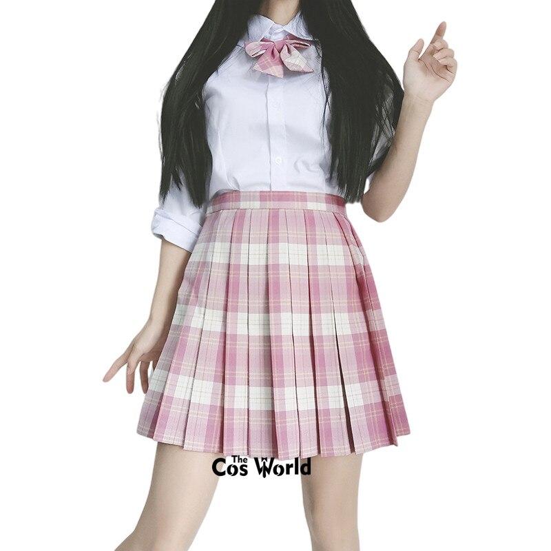[Raspberry Tea] Girl's Japanese Summer High Waist Pleated Skirt Plaid Skirts Women Dress For JK School Uniform Students Cloths