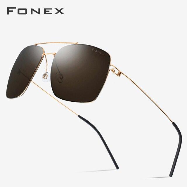 Поляризованные солнцезащитные очки из титанового сплава, мужские ультралегкие зеркальные солнцезащитные очки большого размера, квадратные очки для мужчин, 98622, 2019