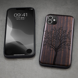 Image 4 - Funda de madera de ébano para iPhone 12 Pro, carcasa de parachoques de TPU tallado para iPhone 12 Pro Max