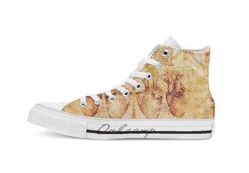 Zapatos de lona con cordones informales transpirables de color marrón con dibujos de Anatomía de Leonardo Da Kini de corazón y sus vasos sanguíneos zapatillas de deporte