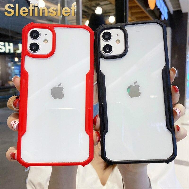 Para iphone 11 pro max se2 luxo hd limpo acrílico à prova de choque caso do telefone em iphon xr xs max 6s 7 8 plus silicone macio pára-choques escudo