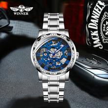 Męski zegarek mechaniczny męski zegarek automatyczny zwycięzca modny zegarek męskie zegarki diamentowy szkielet luksusowy zegarek na rękę tanie tanio GUBANG Bransoletka zapięcie 3Bar Ze stali nierdzewnej Automatyczne self-wiatr 25cm Luxury ru Okrągły Papier 22mm Mechaniczne Zegarki Na Rękę