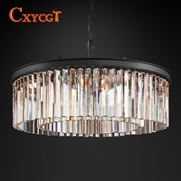 Decorative Art Style Round Crystal Chandelier Metal Material Family Living Room Lamp Lighting