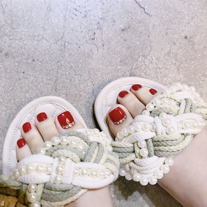 J-93 True Red Refers To With Sliver Beads Summer Day Toenails Finished Product Manicure Foot Patch 24 PCs Boxed Stickers