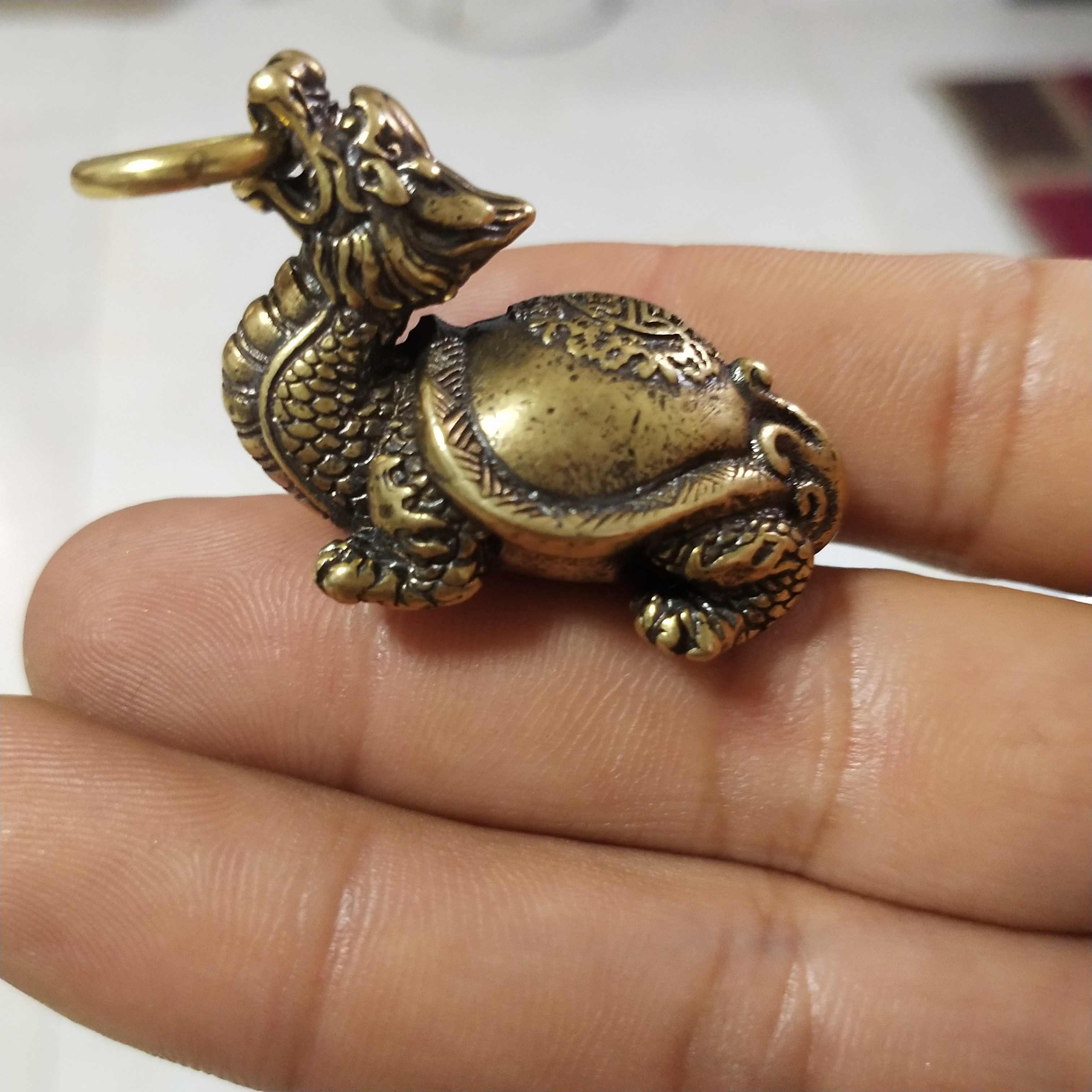 Copper Statue Collectable Chinese Brass Carved Dragon Head Turtle Exorcise Evil And Seek Wealth Exquisite Small Statues