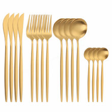 Golden Cutlery Stainless Steel Cutlery Set Matte Tableware Spoons Forks Knifes Set Dinnerware 16pcs Gold Kitchen Dinner Set