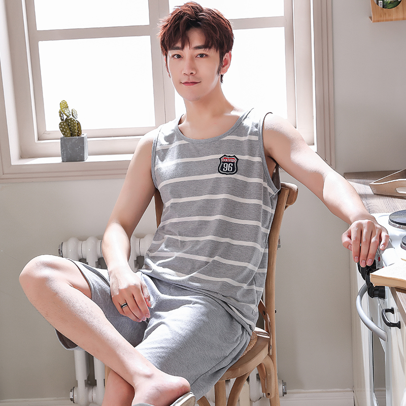 Summer Pajamas Sleeping Suits For Men Fashion Men Sleepwear Classy Striped Pijama Hombre Grey Male Pyjamas Vest Pajamas Men 4XL