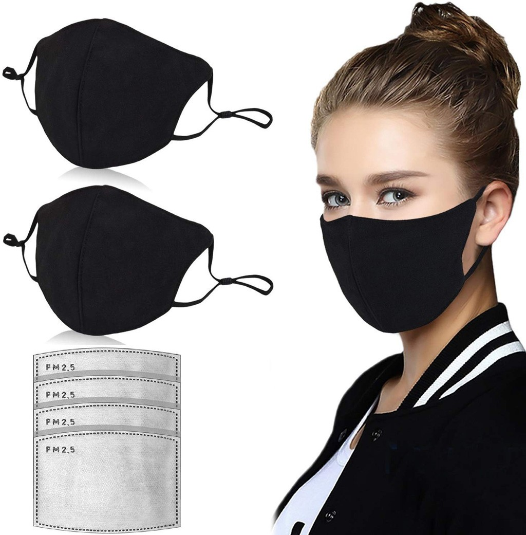 2PCS Cotton Face Mask PM2 5 Activated Carbon Dust Mask With 4PCS Mask Filter Washable And Innrech Market.com