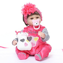 цена на 40CM reborn baby dolls lifelike soft lovely baby doll wholesale reborn baby Toy Toddler bonecas dolls toys for kids Christmas