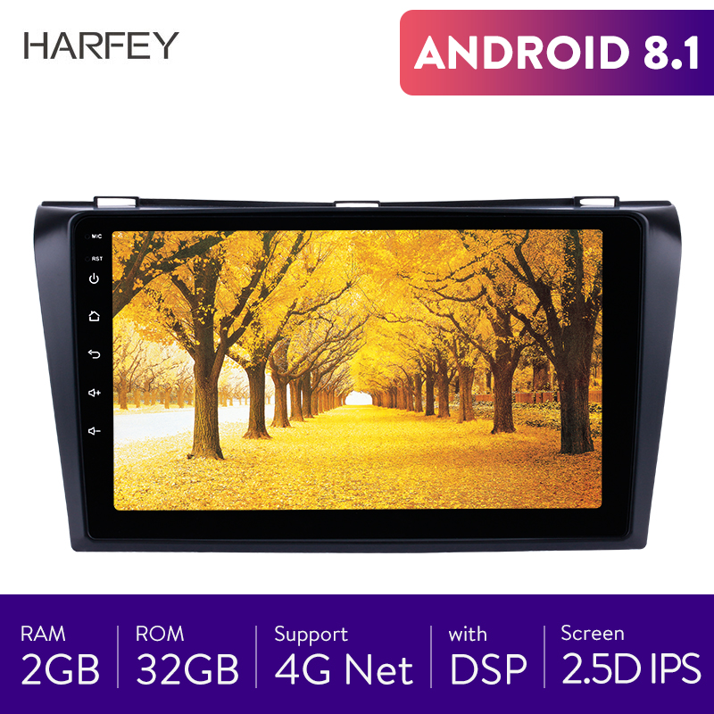 Harfey 9 inch Car Radio for Mazda 3 2004-2009 Android 8.1 GPS Navigation support 4G WIFI Backup Camera SWC Head Unit 2.5D IPS image