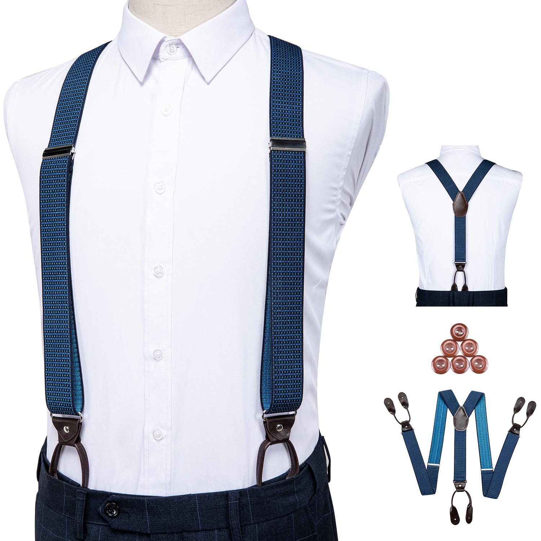 Suspenders For Men Leather Trimmed Button End Elastic Tuxedo Y Back Adjustable Mens Fashion Suspenders Pants Braces Blue DiBanGu