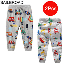 SAILEROAD 2pcs Kids Trousers Pants with Car Print 2020 Full Length Spring Children Sweatpants for Boys Clothes