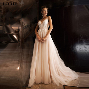 LORIE Light Pink V Neck Wedding Dresses 2020 Lace Bride Dresses A-Line Puff  Tulle Boho Wedding Gown Vestido de novia lorie boho wedding dresses puff a line long backless beach wedding gown appliques lace top bride dress 2019 vestido de noiva