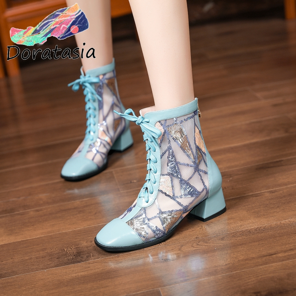 DORATASIA Breathable Genuine Leather Summer Boots 2020 Trendy Spring Mesh Boots Women Unique Ol Med Heels Shoes Woman