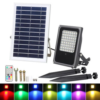 10W50W outdoor solar colorful RGB lawn lights outdoor colorful lighting bright waterproof large solar panels remote floodlights