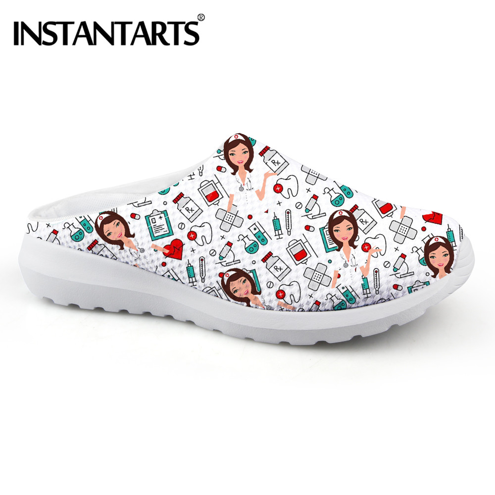 INSTANTARTS Nursing Physician Cartoon Hospital Print Women Slippers Nurse Shoes Comfortable Ladies Home Sandals Zapatos de Mujer image