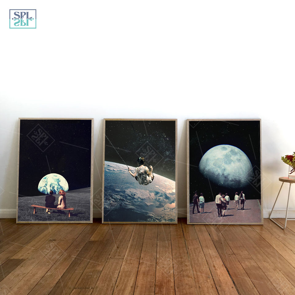 Night-Sky-Art-Prints-Earth-Canvas-Posters-Surrealism-Galaxy-Space-Moon-Canvas-Painting-Swing-Cosmic-Wall