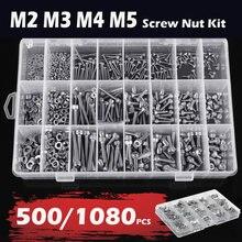 Tornillo con cabeza hexagonal M2 M3 M4 M5, conjunto de tornillos y tuercas de cabeza redonda plana de acero al carbono, Kit surtido con caja de almacenamiento, 500/1080 Uds.