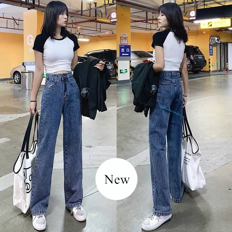 Vintage Woman Jeans For Women Women Spring Casual Denim Wide Leg Loose Pants Full Length Length Oversize High Waist Jean