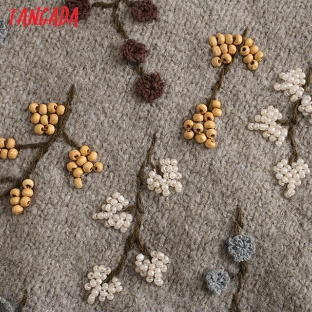 Tangada Women Beading Flowers Turtleneck Sweater Jumper Female Elegant Oversize Pullovers Chic Tops 3L68 4