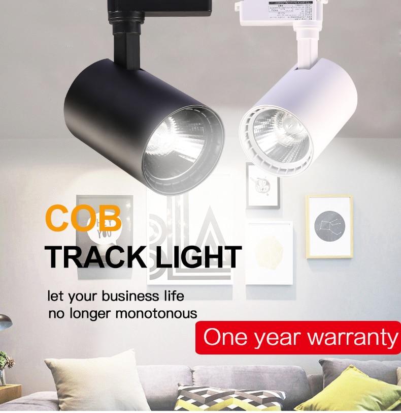 Track Light 12W 20W 30W 40W COB Led Track Lights Fixture Spot ceiling Lamp 220V Spotlight Rail Lighting For Shop kitchen Room