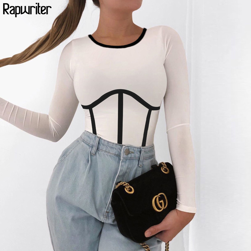 Rapwriter Casual Long Sleeve Cotton Patchwork Line White T-shirt Women 2020 Summer Skinny Basic Crop Top Fashion Stripe Tshirt