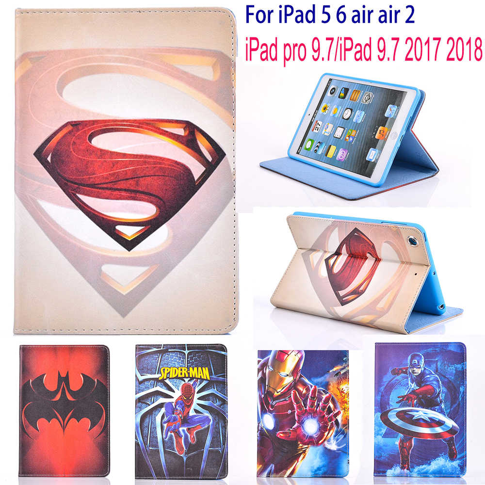 Pokrowiec na Apple iPad 5 6 air air 2 iPad pro 9.7 iPad 9.7 2017 2018 etui na tablety superman etui ze spidermanem stojak Cute Boy pokrowiec