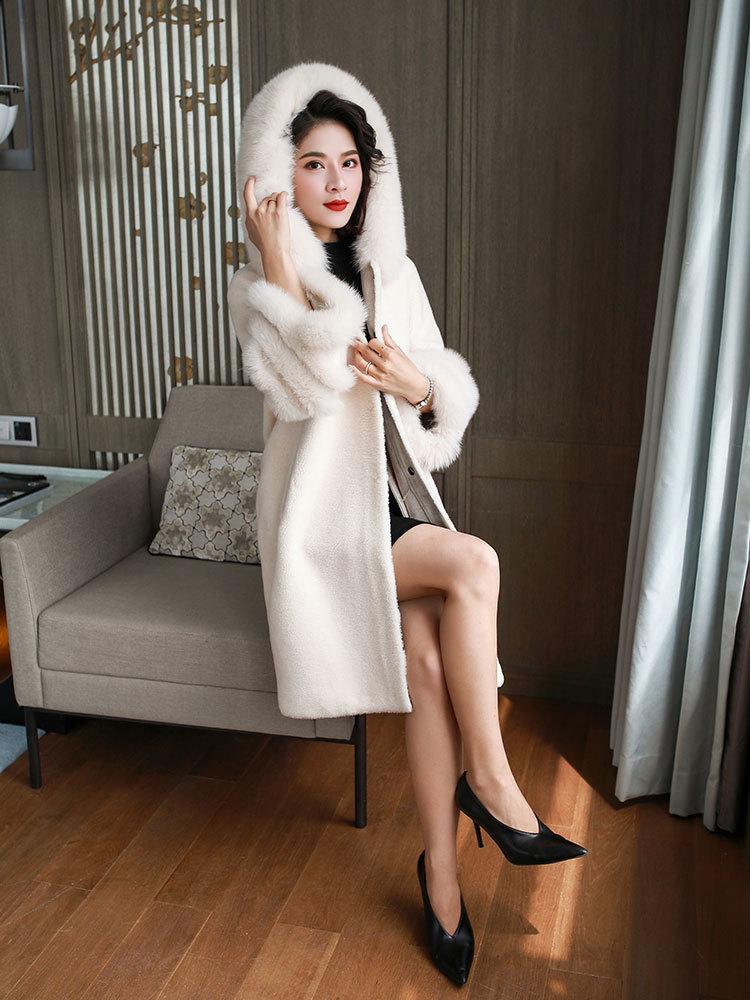 Real Coat Winter Jacket Hooded Fox Collar Sheep Fur Coats And Jackets Women Korean Long Overcoat A -284 KJ3162