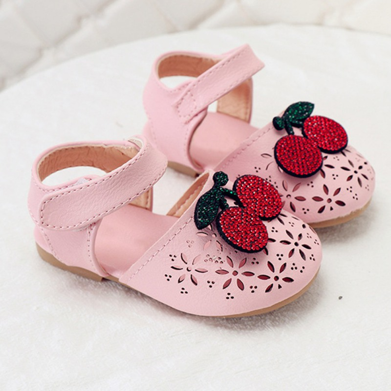 2020 Summer Baby Sandals Toddler Girl Shoes Cherry Crib Shoes Soft Sole Flat Sandals For Children Princess First Walking Shoes