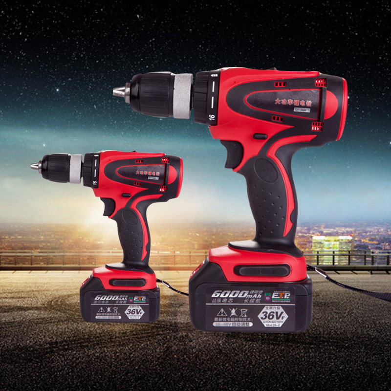 36V Wireless Strong Electric Drill 6000mAh/8000mAh/12000mAh 54N.M Lithium-ion Cordless Torque Electric Screwdriver 1-13mm Drill