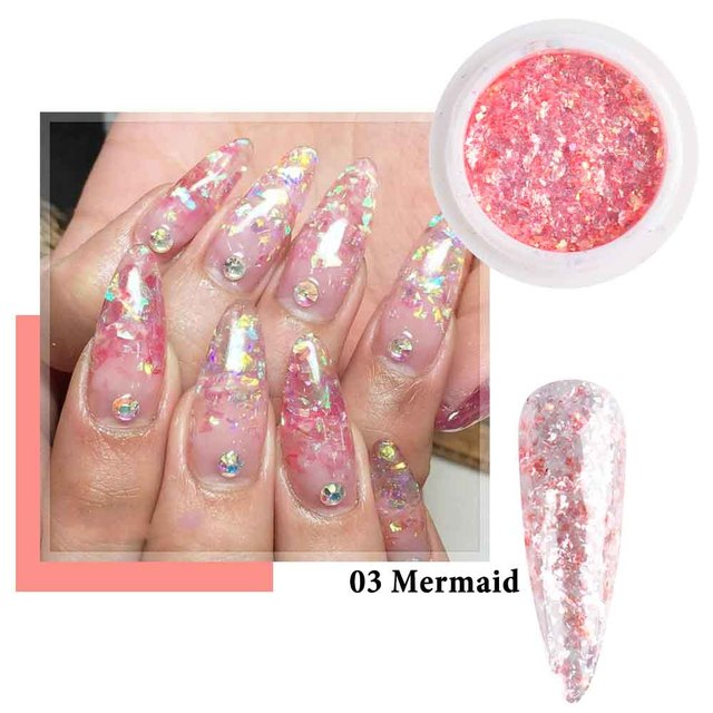 8 Colors Opal Nail Glitter Aurora Holographic Flakes Mermaid Shinny Sequins For Nail Art Design Japanese Style Manicure CH1857