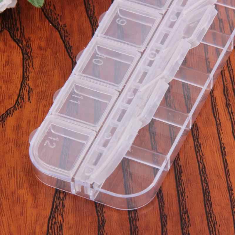 Caixa de arte do prego vazio dividido caso dicas de unhas strass contas gemas caixa de armazenamento para strass contas caixa organizador