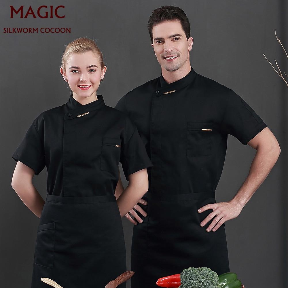 Unisex Chef Workwear Breathable Short Sleeve Chef Coat Baking Kitchen Summer Canteen Restaurant  Work Clothes Hotel Chef Shirt