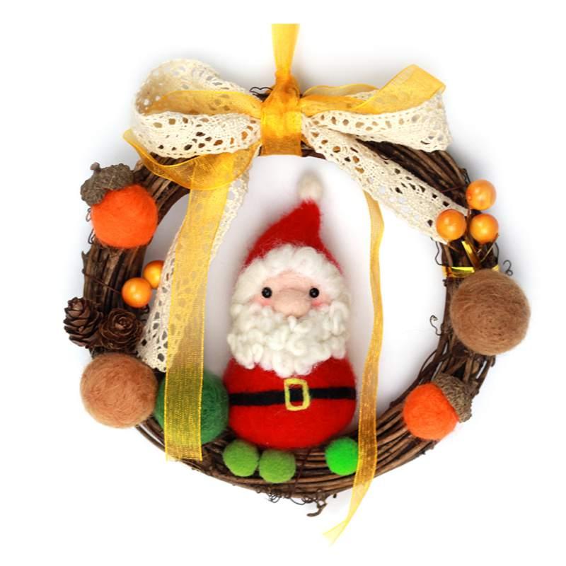 Christmas Craft Handmade Wool Felt DIY Garland Wreath Felting Needle Kit 2019 New Decoration