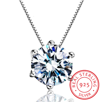 New Silver 925 Jewelry Round Zircon Super Bright Cubic Zirconia Fashion Pendant Necklaces For Women Sz10957r image