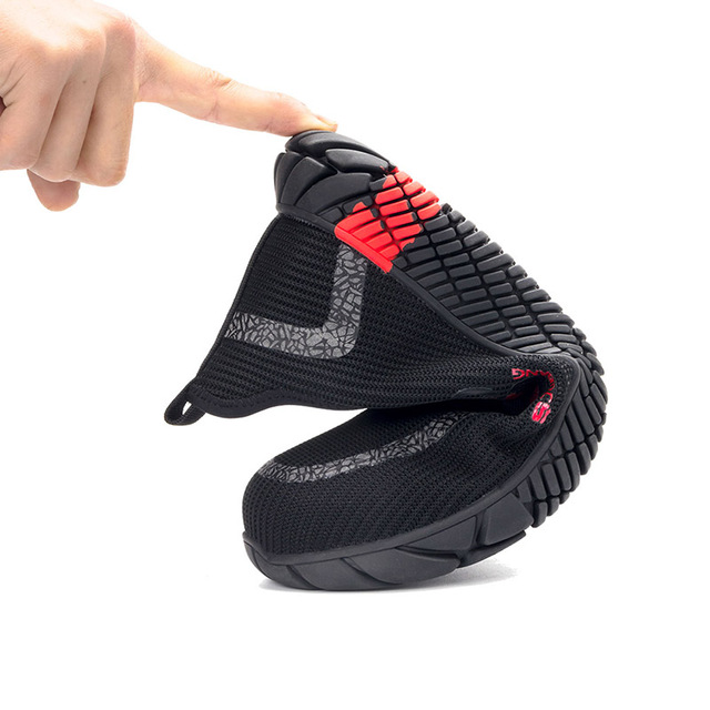 JACKSHIBO Summer Breathable Work Safety Shoes For Men Work Boots Steel Toe Cap Anti-Smashing Construction Safety Work Sneakers