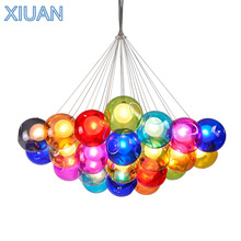 Creative Blown Glass Chandelier Light Clear Colorful Glass Sconces G4 LED Pendant Hanging Lamp Living Room Kids Room Droplights
