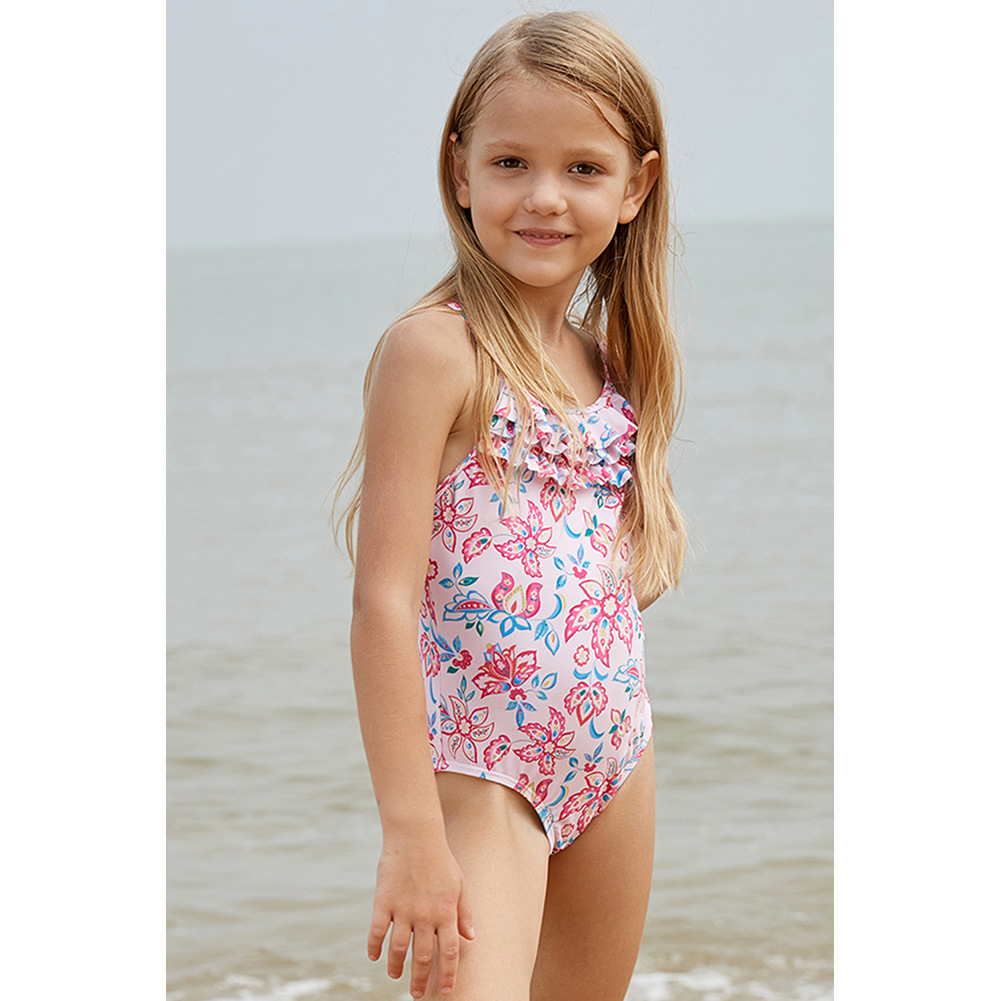 Foreign Trade EBay Amazon America CHILDREN'S Swimsuit 2019 New Style Pink Printing Belly Covering Camisole One-piece Swimming Su