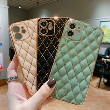New Luxury Plating Gold Line Diamond Grid Silicone Phone Case For iPhone 12 11 Pro Xs Max Mini SE X XR 7 8 Plus Plain Soft Cover