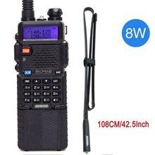UV 5R 8W Walkie Talkie Baofeng 3800 mAh Poderoso 10km km 50 UV5r dual Band de Longo alcance em dois sentidos radio cb ar 152 Antena tático