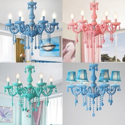 colorful macaron cor lustre de cristal droplight sala de estar quarto lampada fantasia criativa luminaria