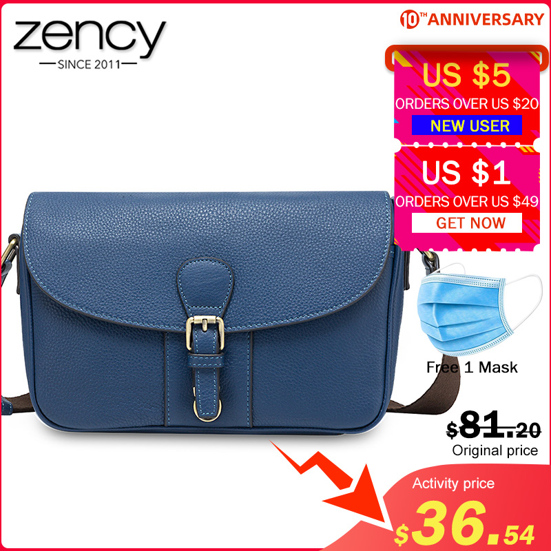 Zency Daily Casual Women Crossbody Bag 100% Genuine Leather Fashion Brown Handbag Satchel Lady Shoulder Bags High Quality Black