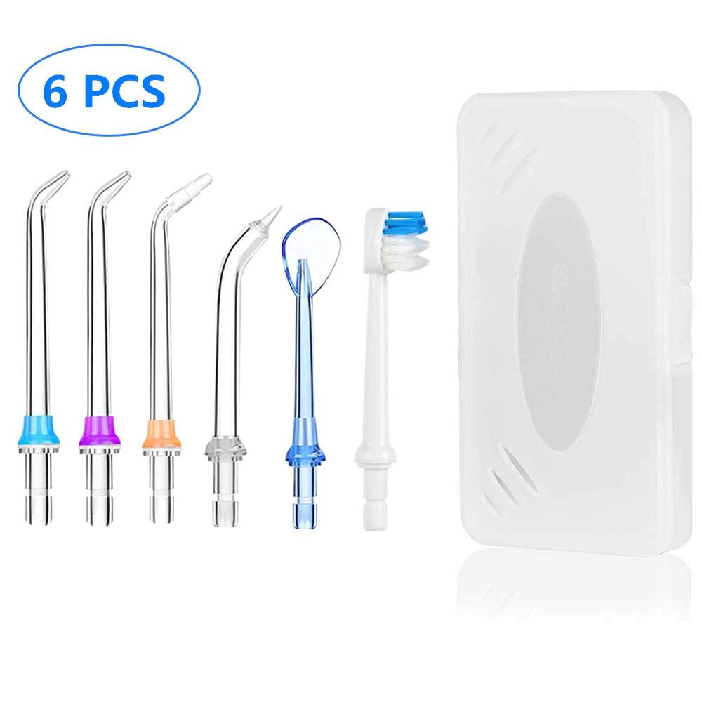 5x Replaceable Portable Dental Water Flosser Jet Tips Nozzle For Oral Irrigator Dental Water Floss Teeth Cleaner+Toothbrush Head