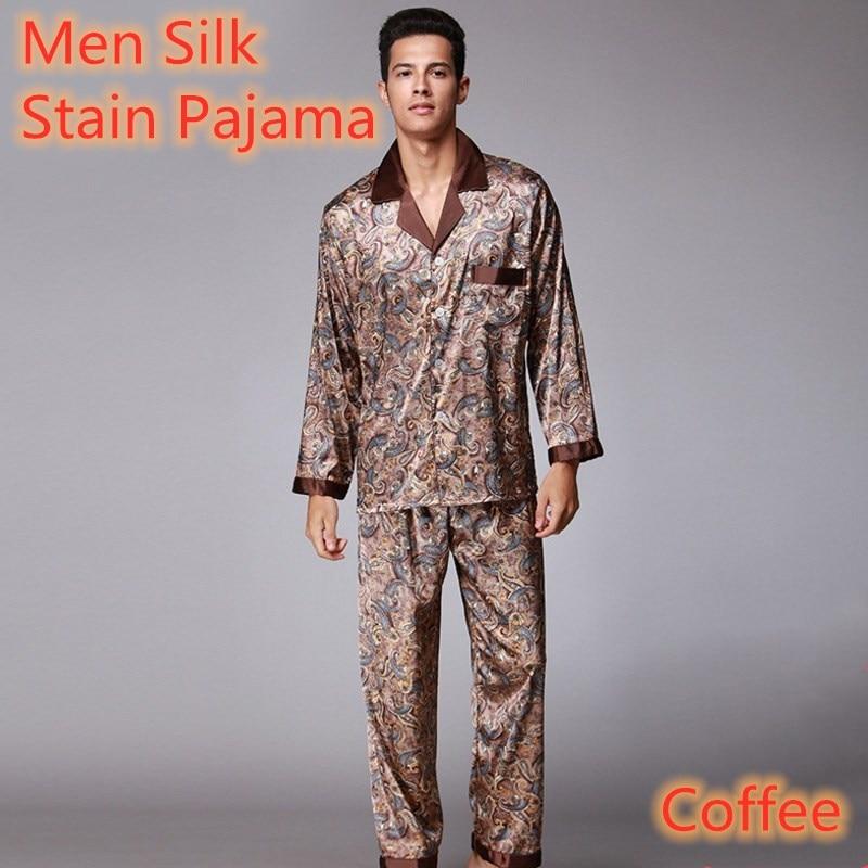 2020 Men's Silk Pajamas Spring Pajamas Men Hombre Pijama Soft Autumn Long Sleeve Trousers Coffee Homewear Sleepwear For Men
