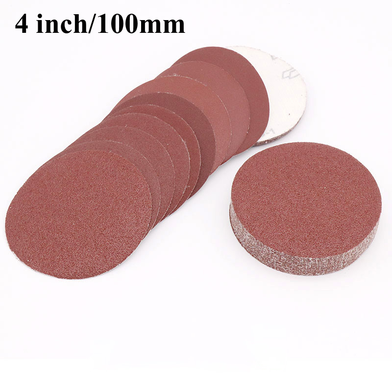 20pc 4 Inch 100mm Round Flocking Sandpaper Disk Sand Sheets Grit 60-1000 Hook And Loop Sanding Disc For Polishing Cleaning Tools