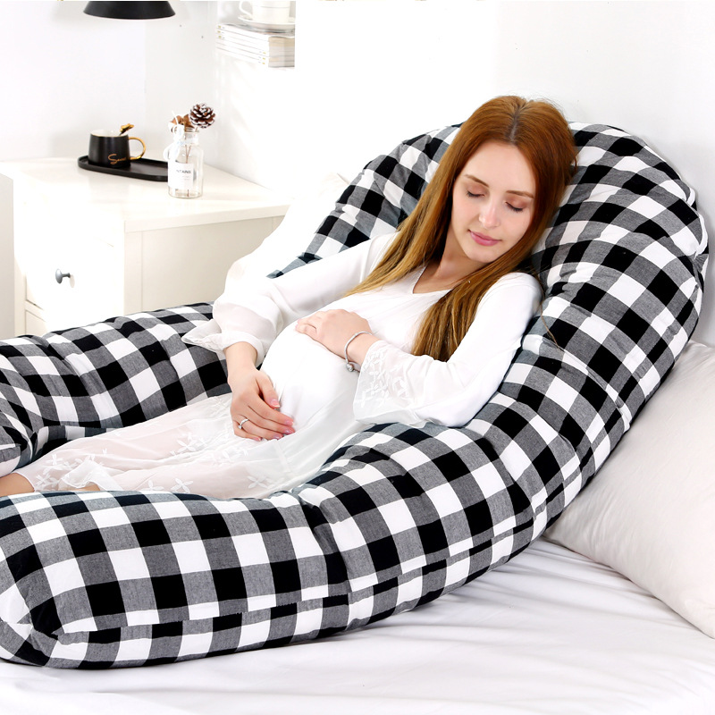 Sleeping Support Pillow For Pregnant Women Pregnancy Pillow Full Body Plaid Cushion Pregnancy Pillow Maternity U Shape Dropship