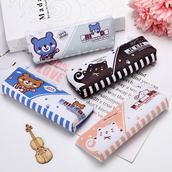 Kawaii pencil case kids gift pencil box PU waterproof cute cartoon pencil bag school supply zipper pouch stationery storage bag j26 kawaii cute moomin canvas pen bag pencil holder storage case school supply birthday gift cosmetic makeup travel