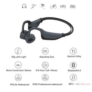 Image 2 - IPX8 wodoodporne słuchawki Bluetooth 5.0 z przewodnictwem kostnym bezprzewodowy zestaw słuchawkowy wbudowana karta pamięci 16GB Mic słuchawki sportowe słuchawki douszne